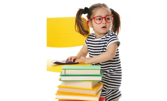 kid with books