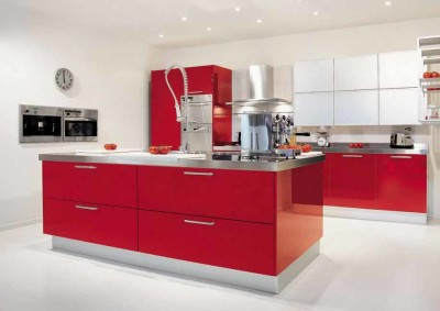 Desain Dapur Warna Merah3