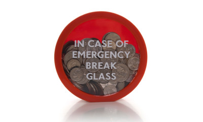 Emergency concept with us coins.