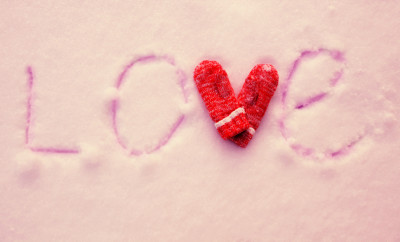 Inscription on the snow love. Valentine's, day. Winter
