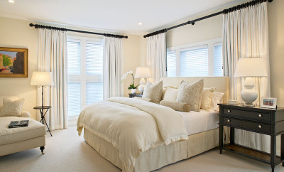 extra-long-curtain-rods-Bedroom-Beach-with-Bedroom-bedside-table-beige-carpet-ceiling-lighting