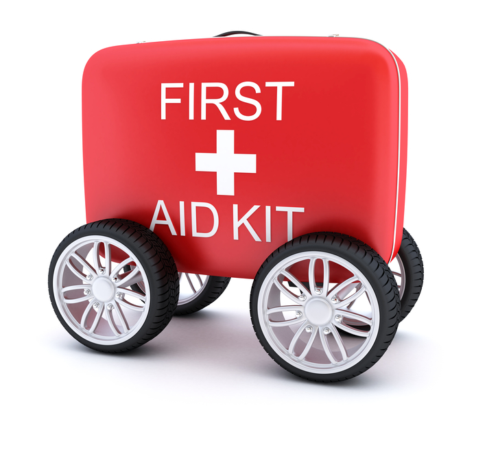 First aid kit on wheels. Digitally Generated Image isolated on white background