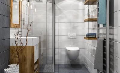 Modern bathroom interior. Render image.