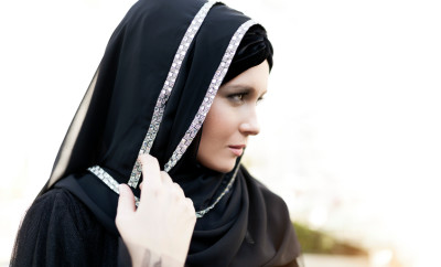 Portrait of beautiful middle eastern woman looking away
