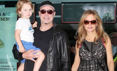 **USA ONLY** *EXCLUSIVE* Cannes, France - John Travolta with wife Kelly Preston as they pose for pictures with their son Benjamin and daughter Ella at the Cannes airport.  AKM-GSI          May 20, 2014  **USA ONLY**  To License These Photos, Please Contact :  Steve Ginsburg (310) 505-8447 (323) 423-9397 steve@akmgsi.com sales@akmgsi.com  or  Maria Buda (917) 242-1505 mbuda@akmgsi.com ginsburgspalyinc@gmail.com