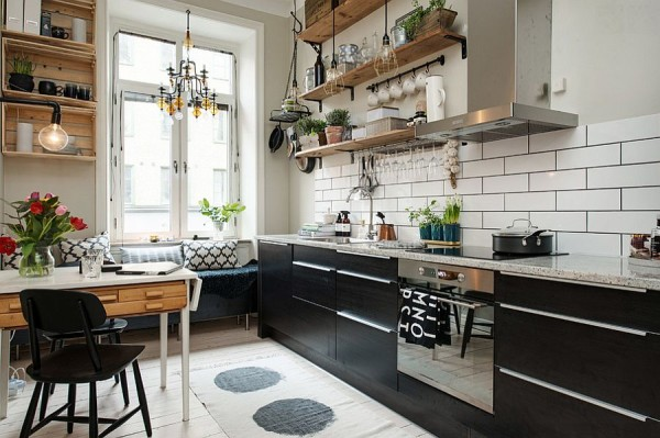 Small-and-stylish-Scandinavian-kitchen-with-breakfast-nook-and-floating-wooden-shelves
