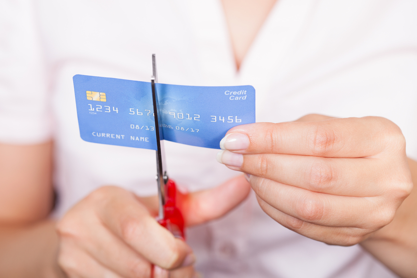 Female Cutting Credit Card
