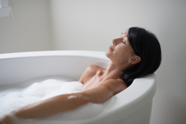 mature woman in a bathtub