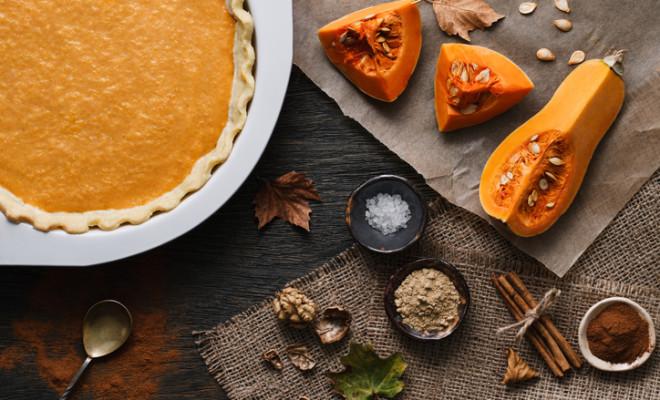 Traditional pumpkin pie cooking process