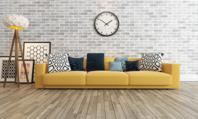 living room or saloon interior design with big wall yellow seat or sofa and picture frames watch 3d rendering