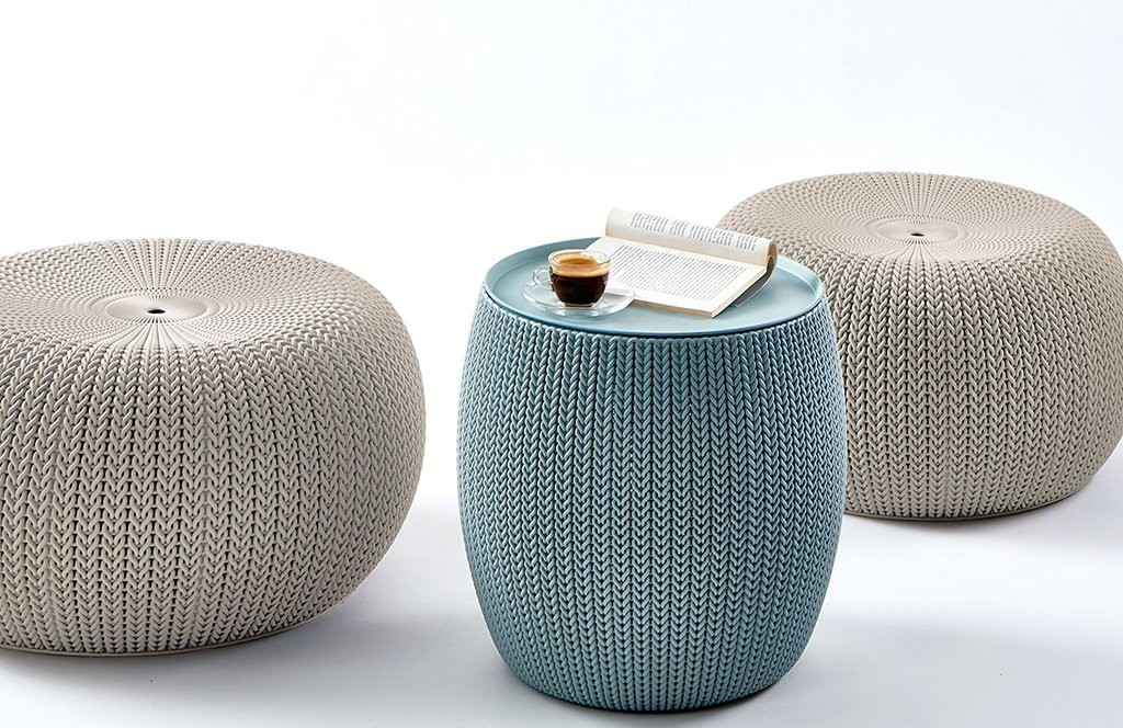 3 Piece Knit Table & 2 Seating Poufs