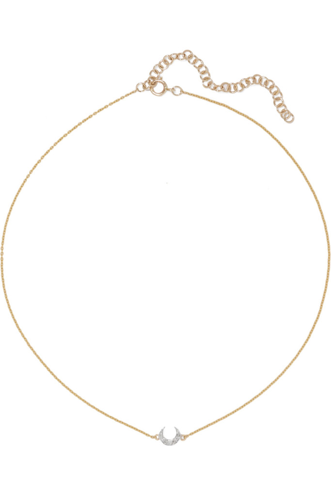 I+I Crescent Moon 18-karat gold diamond choker net aporter