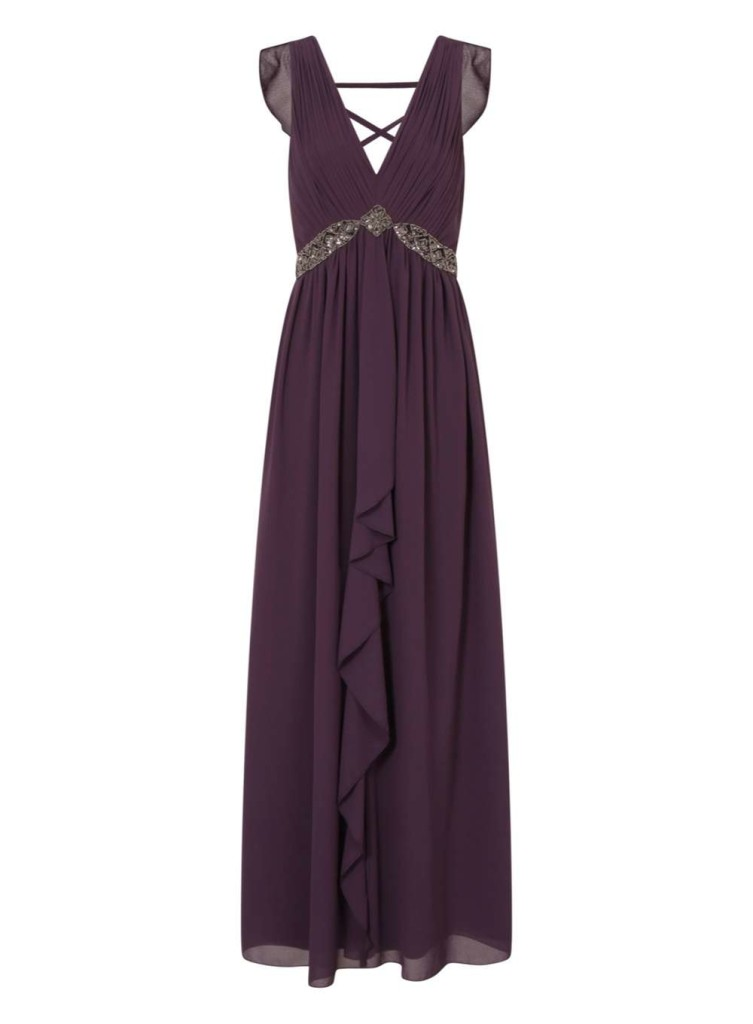 Little Mistress Purple Drape Maxi Dress, Dorothy Perkins.