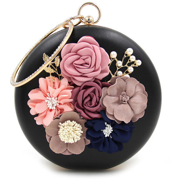 Rhinestone Decorative Flower Embellished Two Way Faux Pearl Clutchin dot with chic