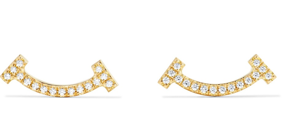 T Smile 18-karat gold diamond earrings Tiffany n co