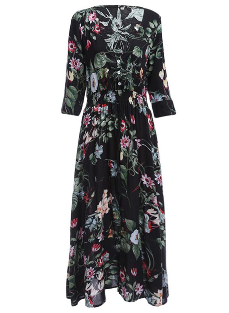 V-Neck Elastic Waist Floral Printed Maxi Bohemian Dress, Victoria Swing.