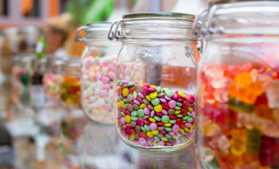 colorful candy, sprinkles in vintage glass jar