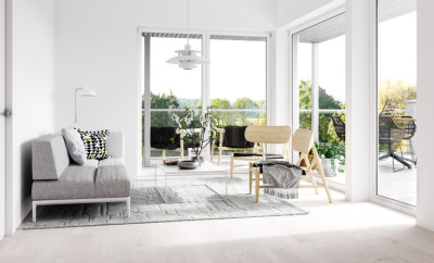 Minimalist interior with terrace. Render image.