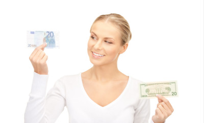 picture of woman with euro and dollar money notes