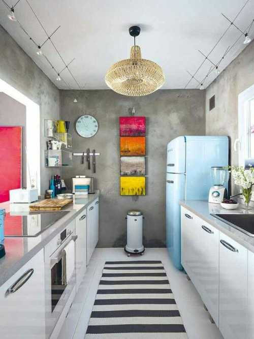 white-retro-kitchen-ideas-with-colorful-accents-for-small-space
