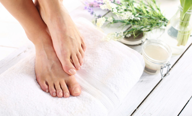 Beautiful feet of a woman during treatments.