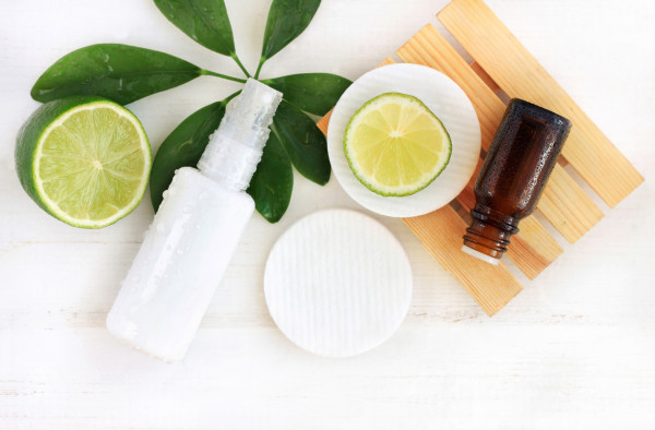 Natural fresh cosmetics top view