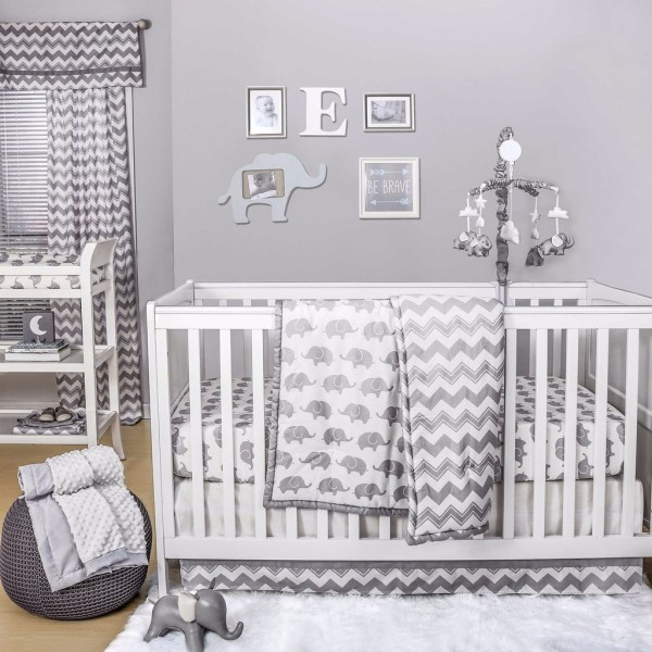The Peanut Shell® Elephant 4-Piece Crib Bedding Set, Bed Bath & Beyond.