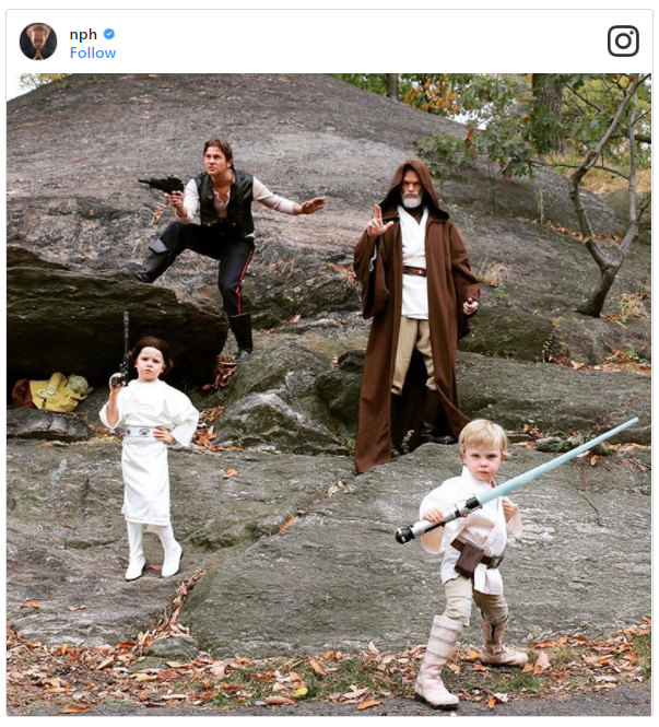 Neil Patrick Harris and His Family as Han Solo, Obi-Wan Kenobi, Princess Leia, and Luke Skywalker