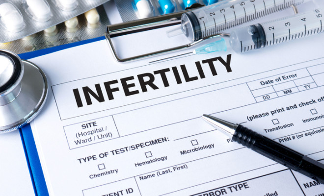 INFERTILITY couple giving a bribe for IVF treatment , Syringe and vaccine with drugs.