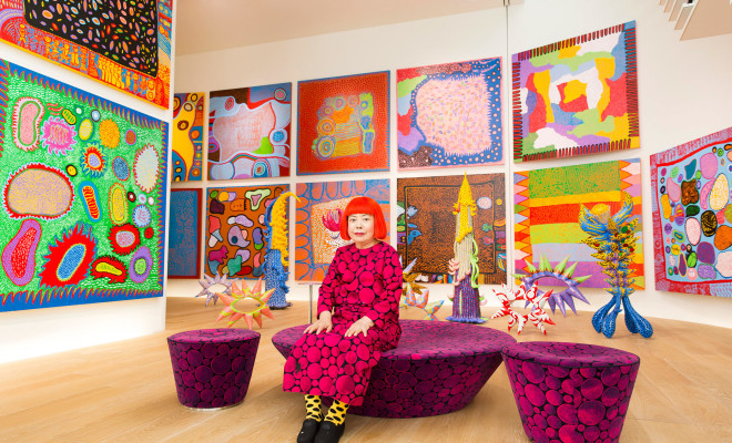 "Yayoi Kusama with recent works in Tokyo in 2016. In 1968, Kusama wrote, ""Our Earth is only one polka dot among a million stars in the cosmos. Polka dots are a way to infinity."
