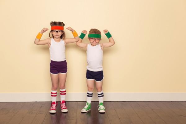 Workout Buddies Flexing Muscles
