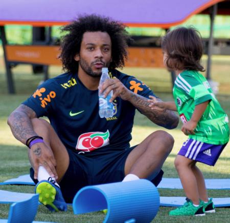 Marcelo & putranya saat latihan bersama