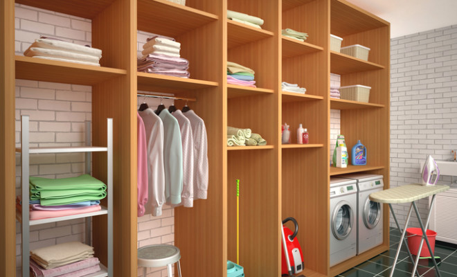Room with shelves for cleaning and laundry items. 3d illustration