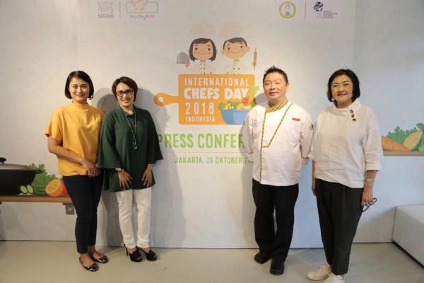 Sesi bincang-bincang dalam perayaan International Chefs Day 2018 yang mengusung tema 'Healthy Foods for Growing Up'.