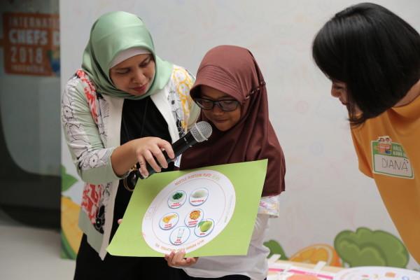 : Para siswa sekolah dasar sedang berpartisipasi dalam kelas nutrisi interaktif, yang mana mereka mendapatkan edukasi terkait takaran dan piring saji dengan gizi seimbang.