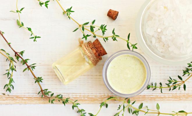 Fresh thyme herbs. Herbal remedies. Top view.