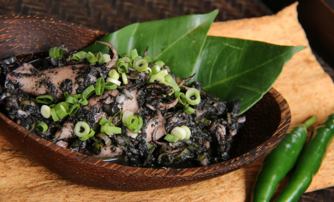 Cumi Woku Tinta, Braised Squids with Woku Spices and Ink from Manado, North Sulawesi